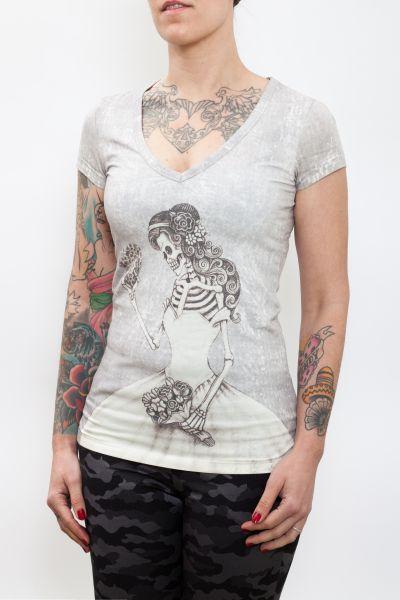 WAY OF GLORY T-Shirt mit Mrs. Skull Print