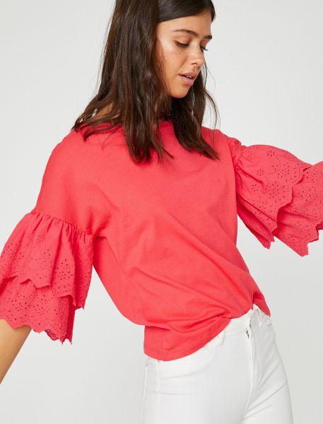 KOTON 3/4-Arm-Shirt mit verzierten Ballonärmeln