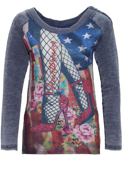 BLUE MONKEY Sweatshirt mit Frontprint Red Shoes  Style 7 17-4919