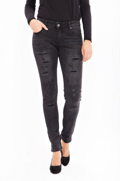 BLUE MONKEY Skinny Jeans mit Applikationen Honey 1689