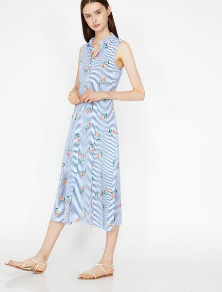 KOTON Hemdblusenkleid mit Streifen und Blumenprint