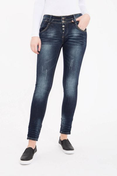 BLUE MONKEY Skinny Jeans mit Doppelbund, Used Waschung Anny 1643