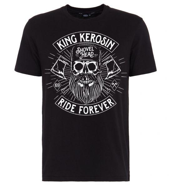 King Kerosin Shirt mit Frontmotiv in Skull-Optik Ride forever