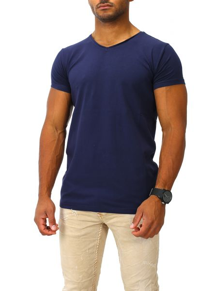 Joe Franks Herren Basic T-Shirts V-Neck DEEP