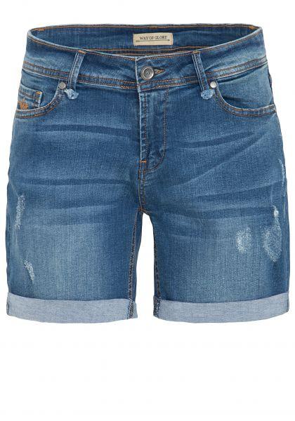 WAY OF GLORY Denim Shorts mit Destroyed Effekten