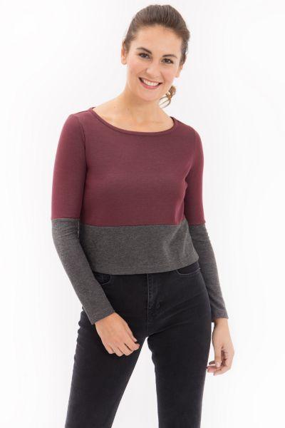 MEXX Cropped Shirt aus Bicolor Jersey