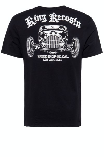 KING KEROSIN Herren T-Shirt mit Hot Rod Backprint Speedshop So.Cal. LA