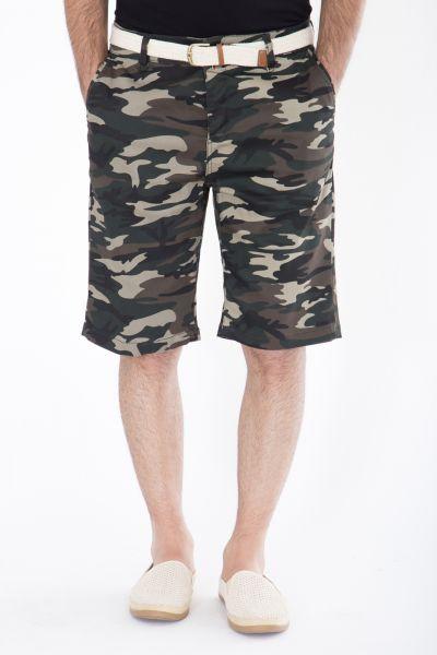 DANIEL DAAF Chino-Shorts mit Tarnmuster inkl. Flechtgürtel