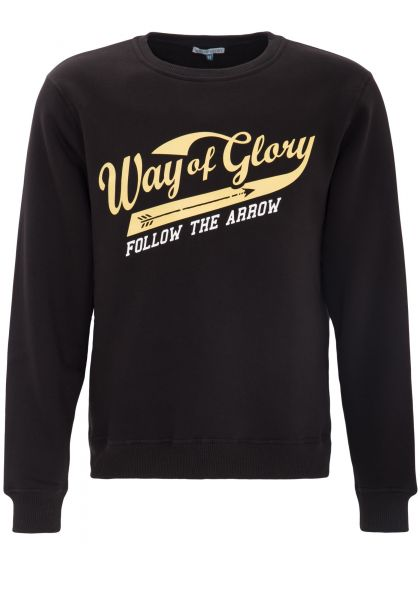 WAY OF GLORY Sweatshirt mit gummiertem Vintage Druck