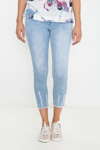 BLUE MONKEY 7/8 Jeans mit ausgefranstem Saum Honey 1900