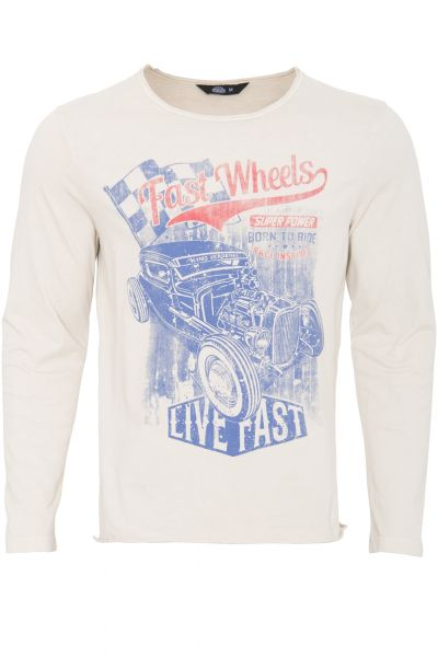 KING KEROSIN Langarmshirt im Used-Look mit Print fast wheels