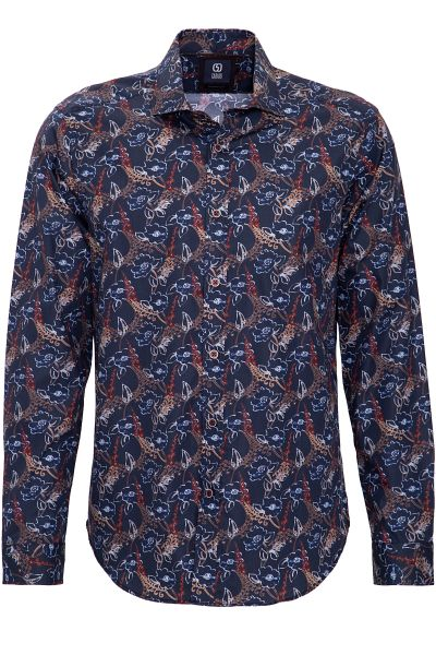 GABANO Langarmhemd mit feinem Vintage-Blumen-Muster