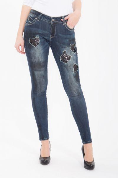 BLUE MONKEY Skinny Jeans mit Destroyed Elementen und Pailletten Laura 1653
