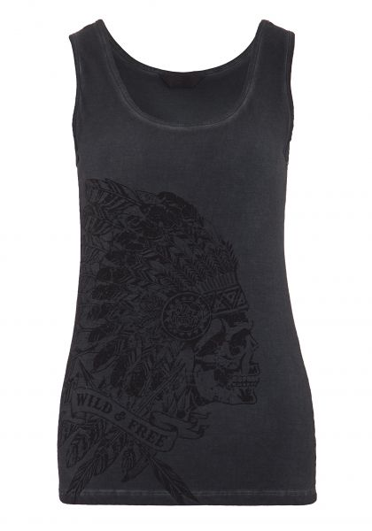 Queen Kerosin Top mit Front Print in Skull-Optik Wild & Free