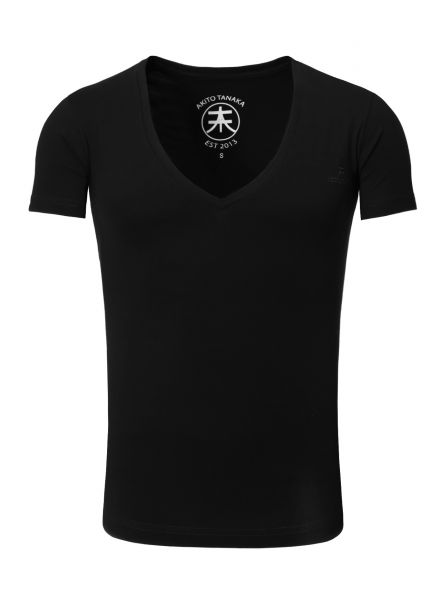 AKITO TANAKA Basic V-Neck Kurzarmshirt Basic Form mit Logostickerei