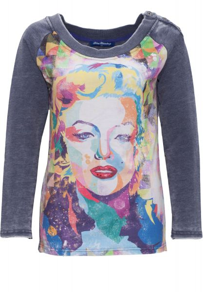 BLUE MONKEY Sweatshirt mit Frontprint Marilyn Style 7 17-4919