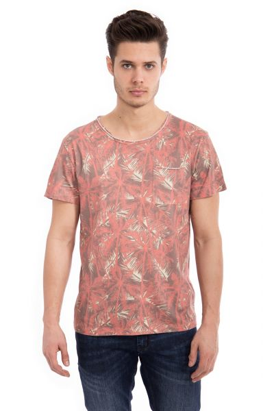 WAY OF GLORY  Basic T-Shirt Tropical Print& Tasche