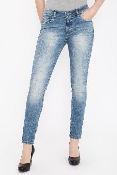 BLUE MONKEY Skinny Fit Jeans mit Strass-Steinen besetzt, Used Look Honey 1722