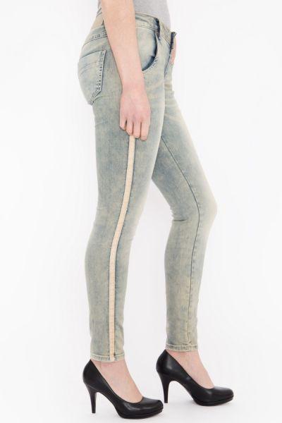 BLUE MONKEY Skinny Fit Jeans mit seitlichen Glanzbändern » Macy 1709 « Macy 1709