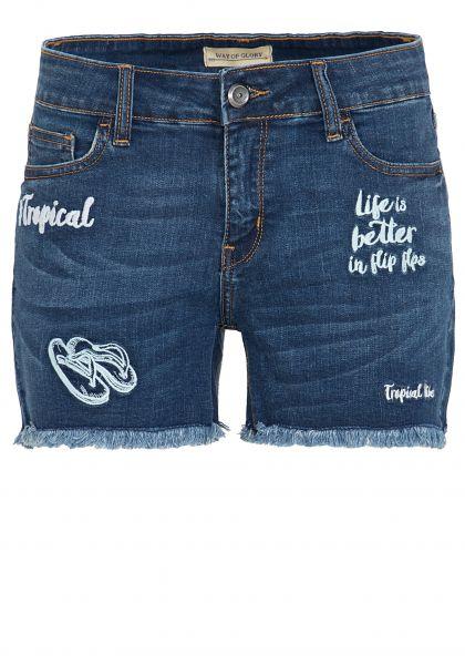 WAY OF GLORY Denim Shorts mit modischen Stickerei Motiven