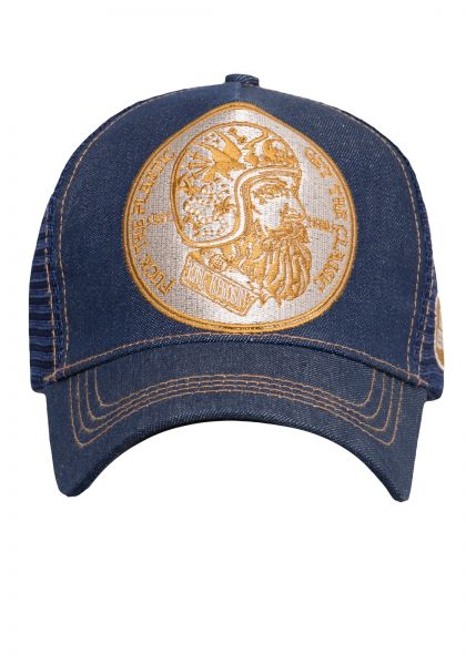 KING KEROSIN Trucker Cap im Denim-Look f*ck the plastic