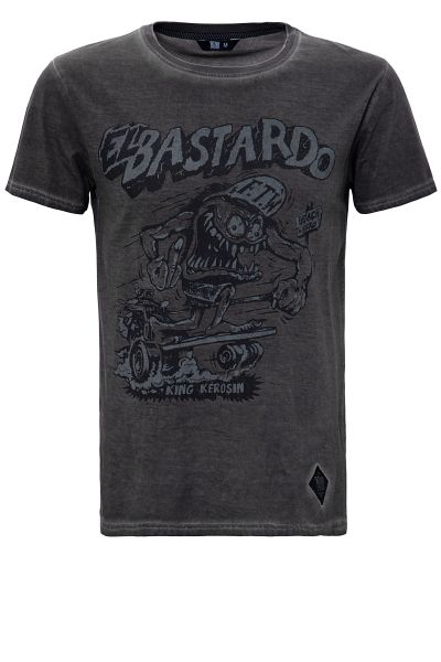 KING KEROSIN Oil Washed Print T-Shirt im Used Look El Bastardo