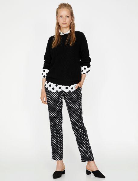 KOTON leichte Damen-Schlupfhose mit Polka Dots