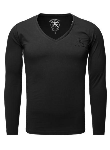 AKITO TANAKA Basic V-Neck Langarmshirt Basic Form mit Logostickerei