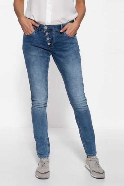 WAY OF GLORY Damen 5-Pocket Jeans mit asymmetischer Knopfleiste