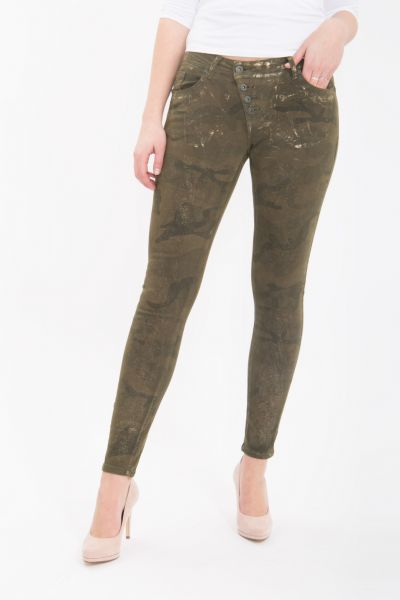 BLUE MONKEY Skinny Jeans mit Tarnmuster und Glitzerdruck